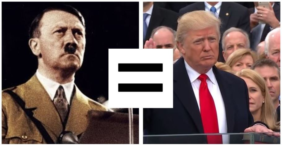 Progressives contend that Trump is the precise equivalent of Hitler.
