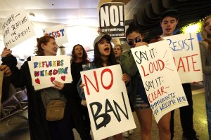 Protesters against immigration stay