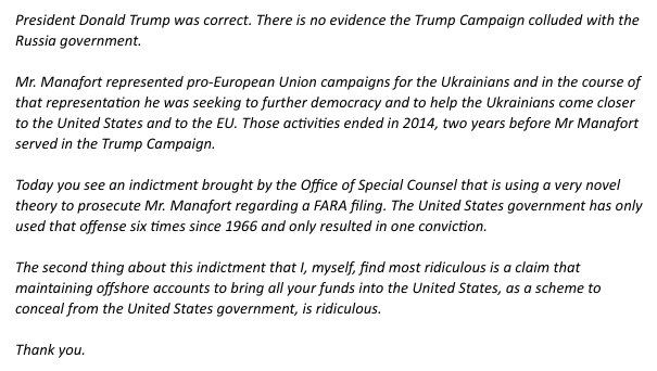 Manafort statement through attorney re Trump