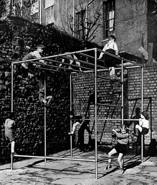 Children on dangerous playground equipment 1920-1940