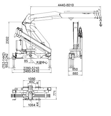 Durable 5T Safety Knuckle Boom Truck Mounted Crane For