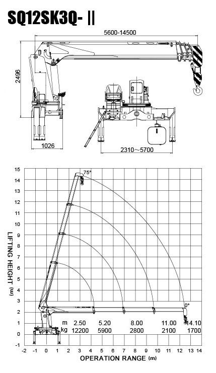 Durable XCMG 12 Ton Loader Boom Truck Crane , 14.5m