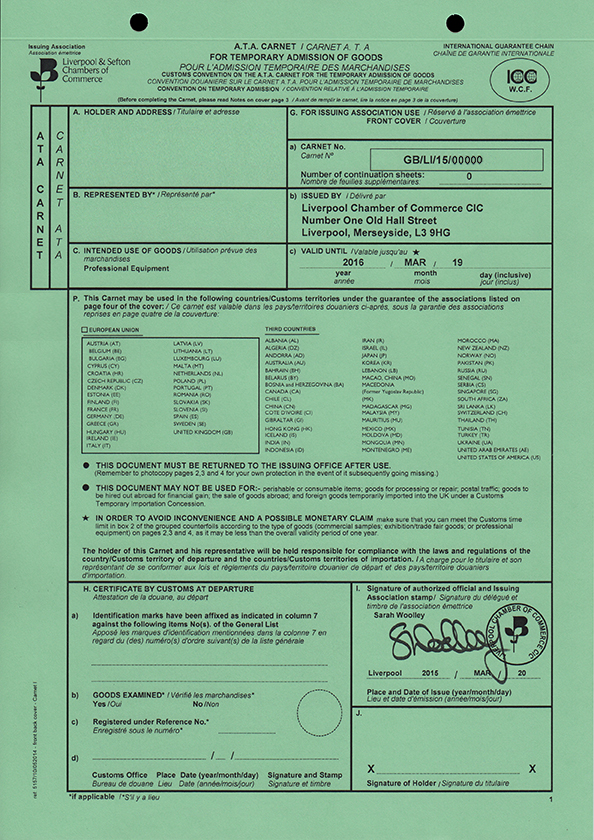 What Does a Carnet Document Look Like Examples of a Carnet Document  ATA Carnet