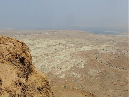 Looking down at the desert and the Dead Sea from the top of the mesa at Masada, Israel