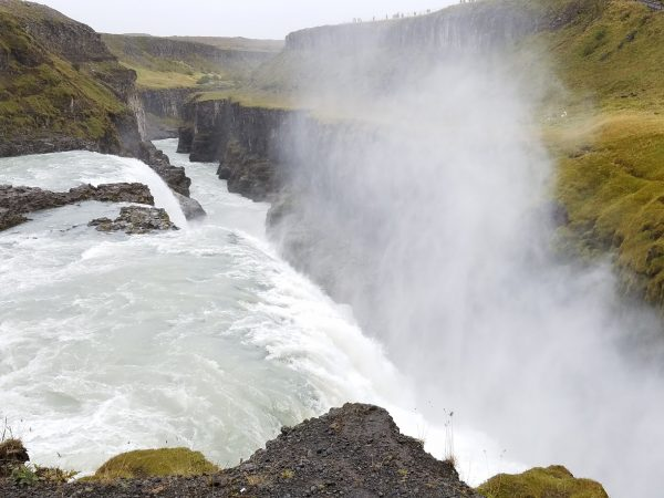 Lower tier of Gulfoss Waterfalls on the Golden Circle Route, Iceland