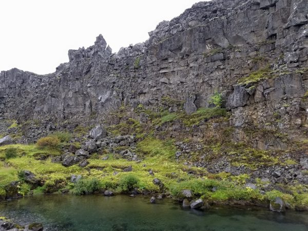 eastern edge of North American Tectonic Plate at Thingvellir National Park in Iceland on the Golden Circle Tour route