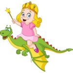 Cartoon of a child princess wearing a crown riding a friendly dinosaur.