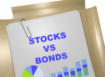 Business memo with a graphic of stocks vs. bonds