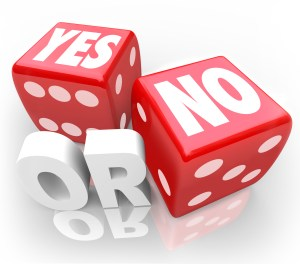 """red dice that say """"yes' or """"no,"""" signals whether there's a need or not for long-term care."""