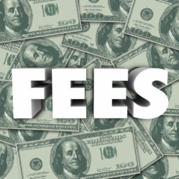 """Scattered $50 bills with the word """"fees"""" blazoned on top of the image."""