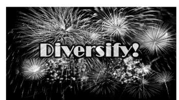 Black and white photo of fireworks celebrating diversified stock funds with overlay of word 'diversify.'