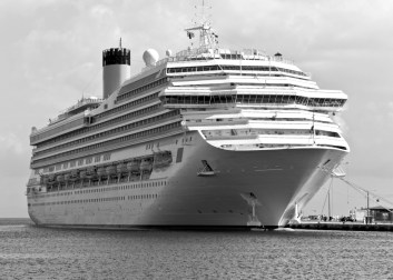 B/W photo of cruise ship meant to represent large-cap stocks