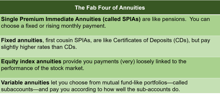 """Table addressing one of the 11 critical questions to ask before buying an annuity: """"what are the fab four annuities?"""""""