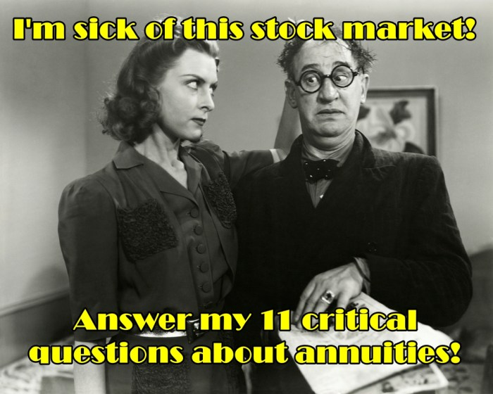 Black and white vintage photo of woman pulling annuity salesman's hair and telling him he must answer the 11 critical questions about annuities before she'll buy.