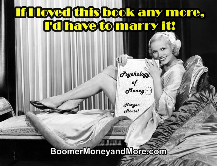 Retro black and white photo of woman holding book Psychology of Money and thinking about her money soft skills