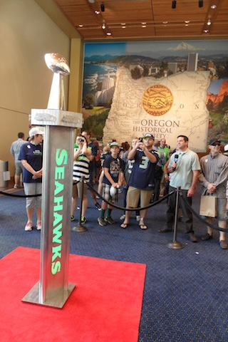 Seahawk fans gather in a museum?