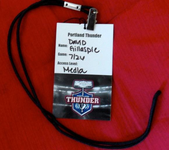 Media credential for Moda Center and Portland Thunder Arena Football.