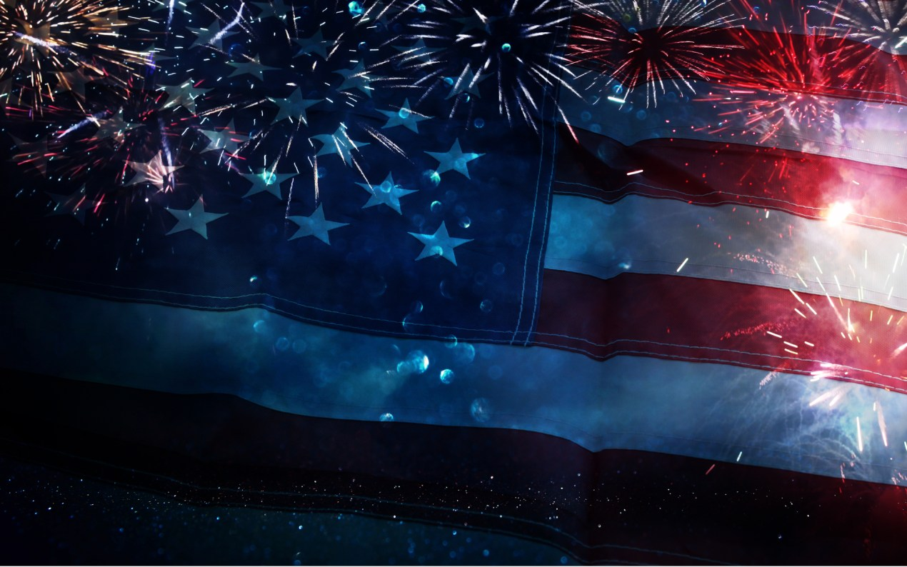 Flag with fireworks sized