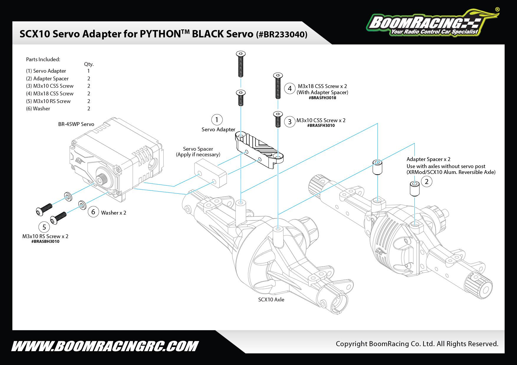 Chassis & Suspension Servo Adapter for PYTHON™ BLACK Servo