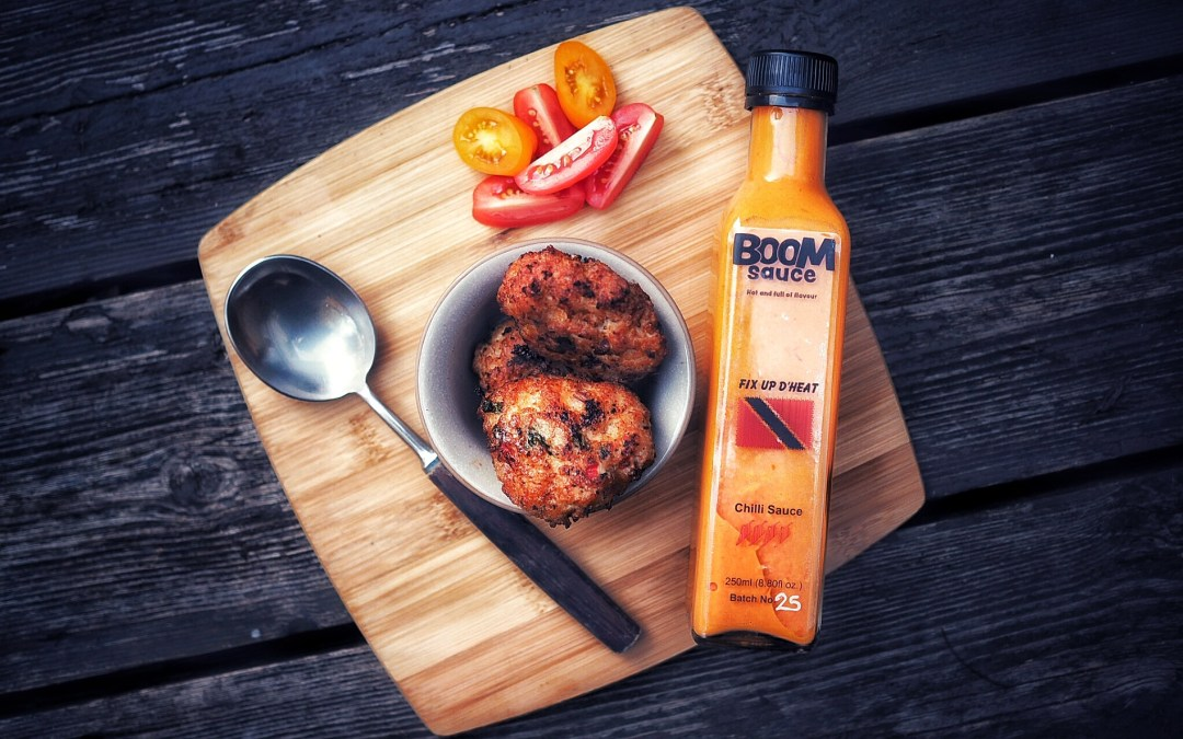 Boom Sauce Bottle and food image