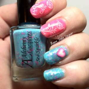 Alchemy Lacquers - Sea Sparkle with China Glaze - You Drive Me Coconuts