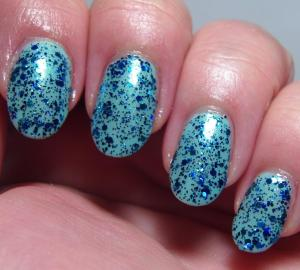 Blue Eyed Girl Lacquers - Siren's Birthday Sprinkles (over Blue Eyed Girl Lacquer - Monster's Tea at Tiffany's)