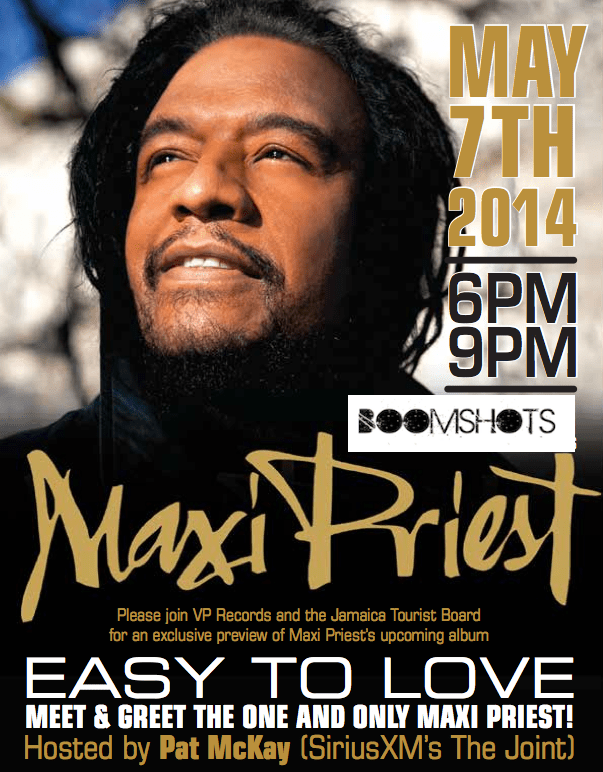 Maxi Priest Meet and Greet Tomorrow in NYC
