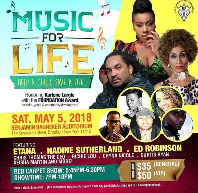 Etana, Ed Robinson, Nadine Sutherland, Keisha Martin, Richie Lou and Nello Vibes Headline The Lawman Lynch  Foundation Music For Life Benefit Concert
