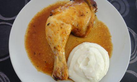 Pollastre al forn amb salsa de taronja