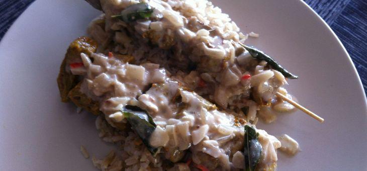 Broxetes de vedella (curry satay)