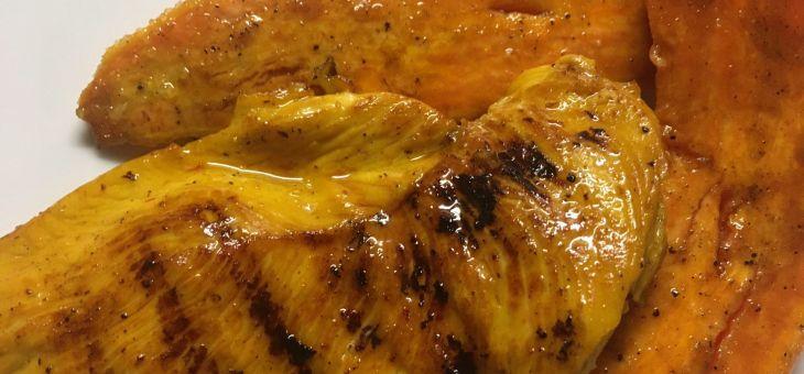 Pollastre marinat amb boniato a la mantega de yuzu