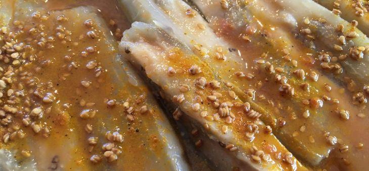 Albergínies al miso de sèsam