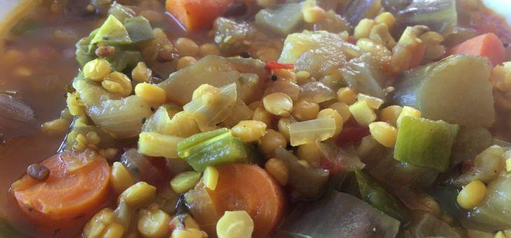 Estofat de cigrons partits amb verdures a l´estil del sud de l´India