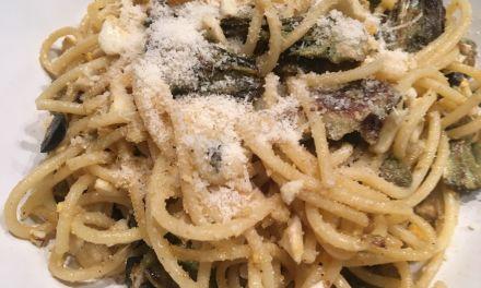 Pasta amb carxofes i salsa d´anxoves a l´estil del Piamont