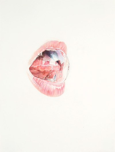 artist julia randall colored pencil drawing lips lick line
