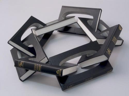 Book sculptures by artist Robert The