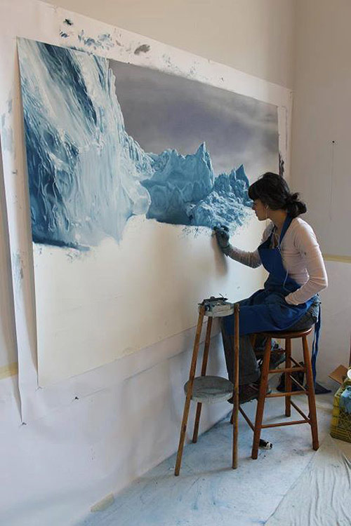 pastel drawings of greenland chasing light by artist zaria forman