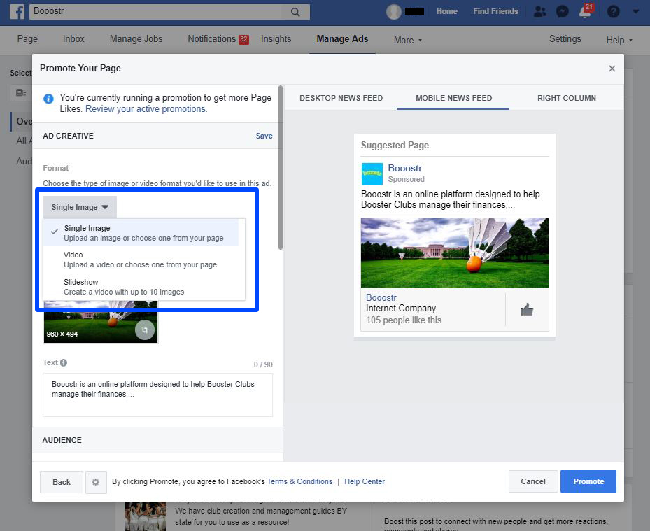 Create Your first booster club Facebook Ad