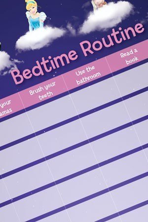Printable pink bedtime routine chart