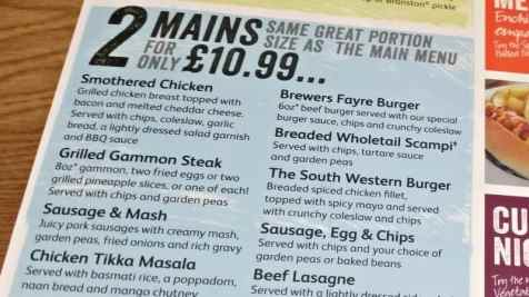 Brewers Fayre - Daytime Value Mains