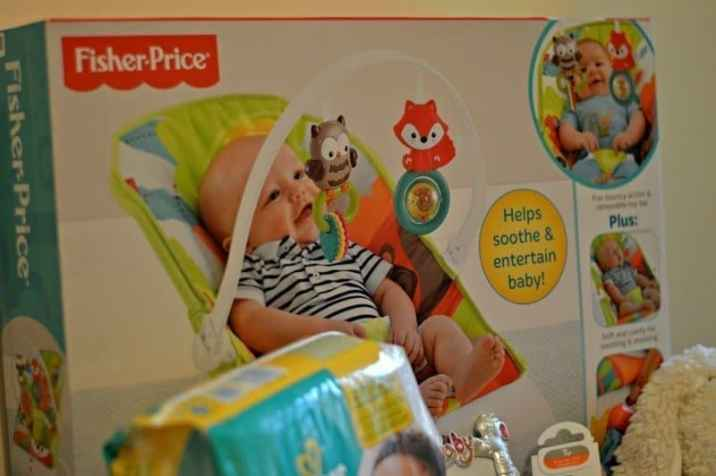 Preparing for Piglet Baby Shower Fisher-Price bouncer