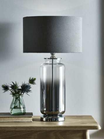 Grey Smoke Glass Table Lamp