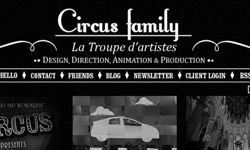 circus family in 30 Excellent Black Website Designs for Inspiration