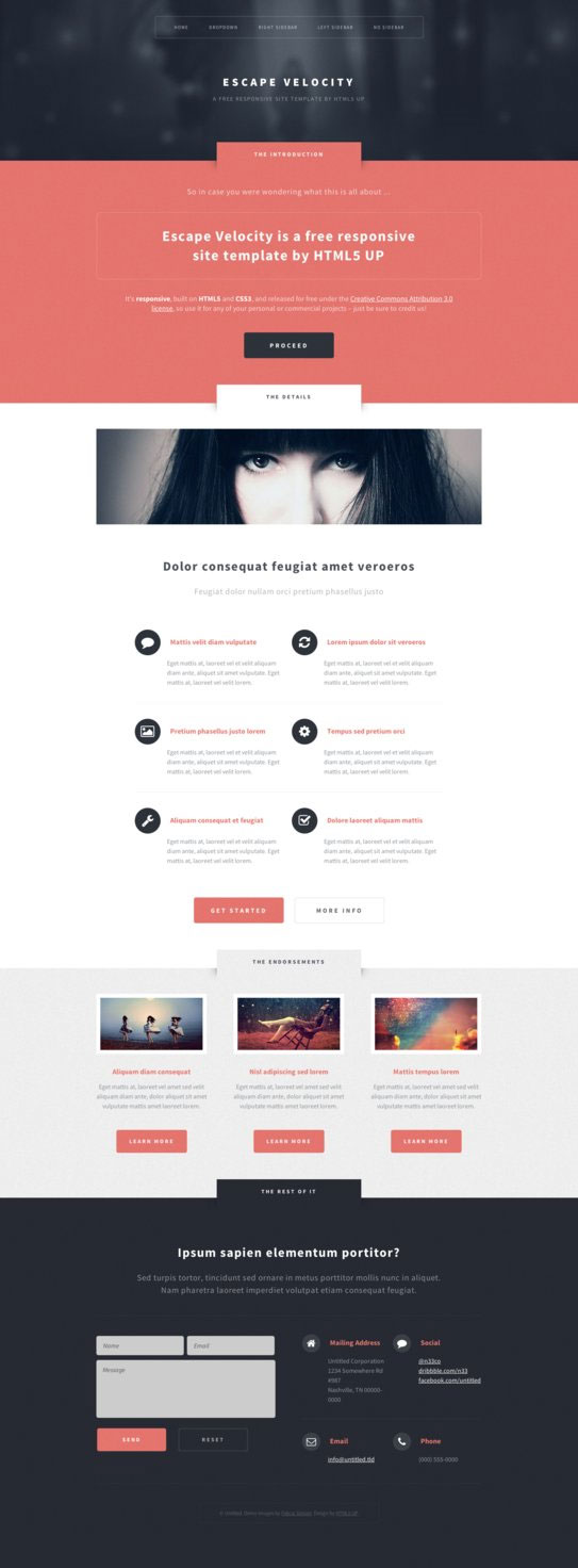 Escape Velocity - Free HTML5 Website Template