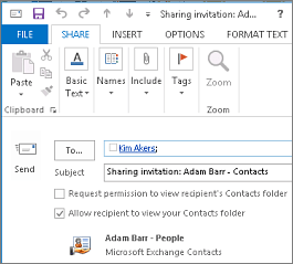 How to share contacts in Outlook 2016 and Office 365