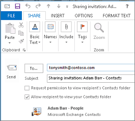 Draft share contacts invitation outside your organization