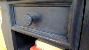 oak table blue with paris stencil