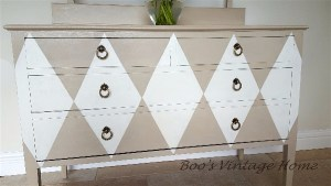 vintage chest of drawers harlequin design