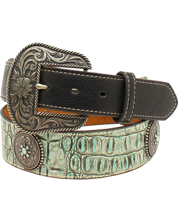 Nocona Women' Croc Print And Concho Belt Boot Barn