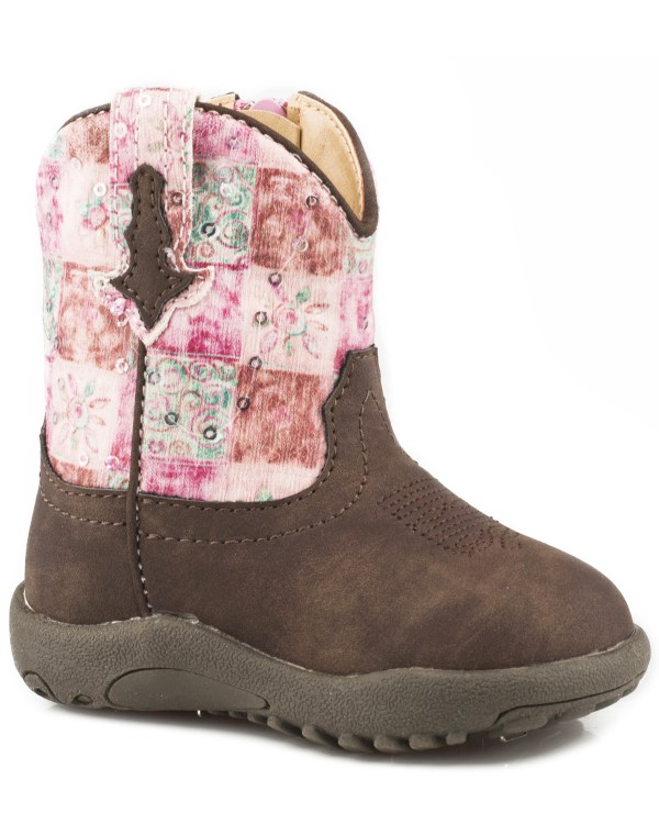 Roper Infant Girls' Floral Shine Sequin Cowbabies Boots